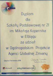 """Zakończenie projektu """"Agenci Globalnej Zmiany"""""""