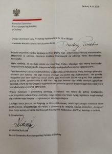 Podziękowania Konsula Generalnego Rzeczpospolitej Polskiej w Sydney