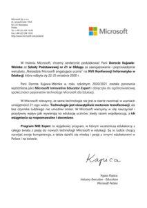 Podziękowania Microsoft